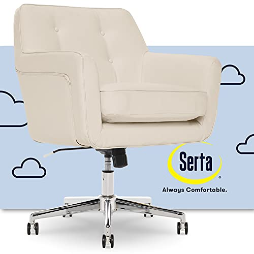Serta Ashland Ergonomic Home Office Chair with Memory Foam Cushioning, Chrome-Finished Stainless Steel Base, 360-Degree Mobility, Cream