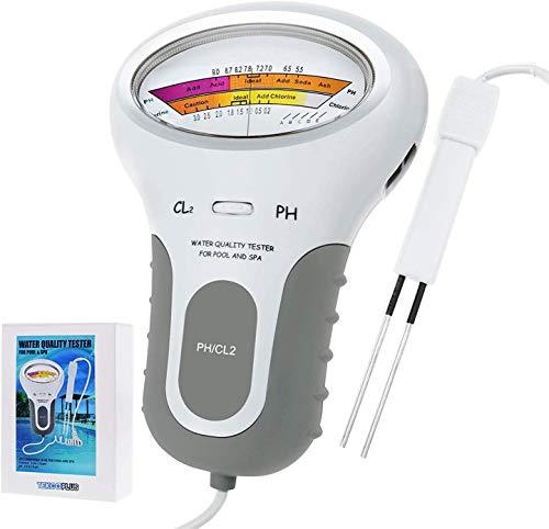 zhangcheng Chlor und pH 2 in 1 Schwimmbadtester,Chlorgehaltsmesser CL2 Wasserqualitätsanalyse überwachen Schwimmbad,heißes Quellwasser,Wasserquellenkontrolle