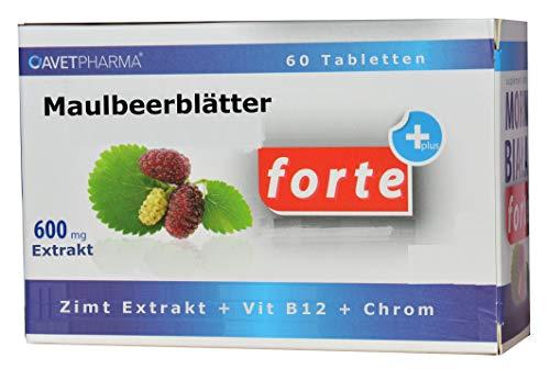 Maulbeerblätter Extrakt 600mg, 60 Tabl. mit Zimt, Chrom, Vitamin B12, reduziert Kohlenhydraten- und Zuckeraufnahme, bremst Heißhunger, zum Abnehmen, (Tablette teilbar, 2 x 300mg), kapseln
