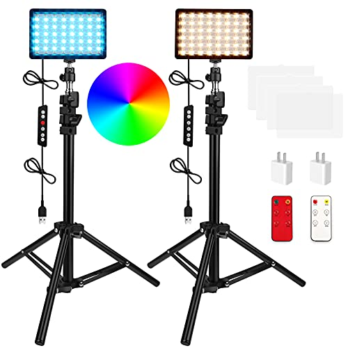 QEUOOIY 2 Packs RGB LED Video Light with Adjustable Tripod Stand/White Filters, Dimmable 2500-6500K USB Video Conference Lighting Kit for YouTube Photography/Game Zoom Live, TikTok, 1.2M -  Q-RGB-2Dxiankong-1.2M