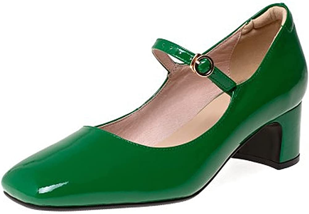 Lutalica W Store Women's Patent Leather Closed Retro Free shipping on posting reviews Strap B Toe Ankle