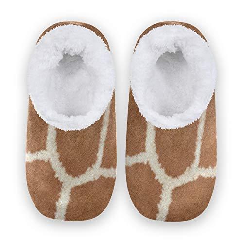 TropicalLife LZXO Herren Damen Plüsch Hausschuhe Geschlossen Giraffe Print Pattern Memory Foam Slippers Winter Wärme Indoor Home Pantoffeln(Größe XL)