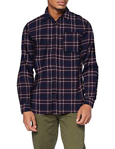 JACK & JONES Herren JJPLAIN PRE Check Shirt LS Hemd, Navy Blazer, L