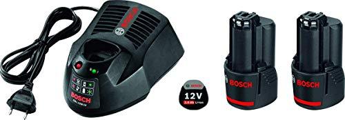 BOSCH 1600A00X7E 1600A00X7E-Kit 12V Power Set 2 Baterías de 3,0 Ah. 1 Cargador. Caja de cartón, 12 V, Negro