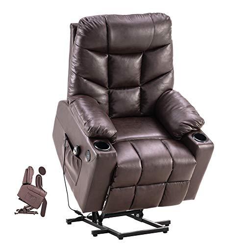 U`King Fernsehsessel Aufstehhilfe Elektrisch Relaxsessel Fernbedienung Heizung Massagesessel Einzelsofa Verstellbar USB Anschluss Getränkehalter for Zuhause und Büro - Braun…