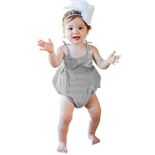 Nouveau-né Bébé Filles Rayures Seersucker Bubble Straps Ruffle Couches Bowknot Barboteuse pour 0-24 Mois (0-6 Mois, Noir)