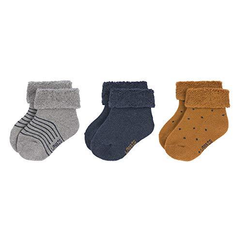 LÄSSIG Neugeborene Socken Erstlings-Socken GOTS Bio-Baumwolle (3er Pack), Rosewood, Größe: 12-14