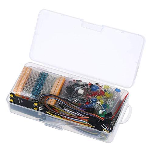 CUTICATE Electronics Component Fun Kit w/Power Supply Module, Jumper Wire, 830 tie-Points Breadboard, Precision Potentiometer,Resistor for Raspberry Pi