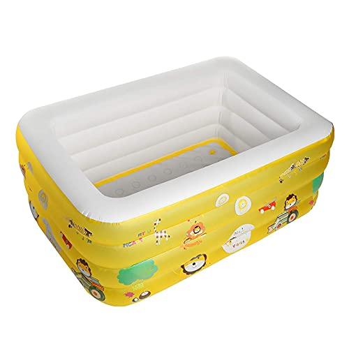 Piscina Inflable para niños, Piscina Inflable Familiar 175x138x65cm, 3 Cámara de Aire, Bañera Hinchable Rectangular para bebés, Adecuado para jardín, baño, bebé y niñaYellow-180cm