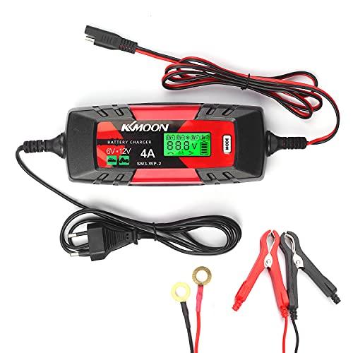Car Cargador de batería Cargador y mantenedor de batería 6V / 12V Cargador de batería automático inteligente de 4 amperios con pantalla LCD Cargador de reparación de pulso para automóviles