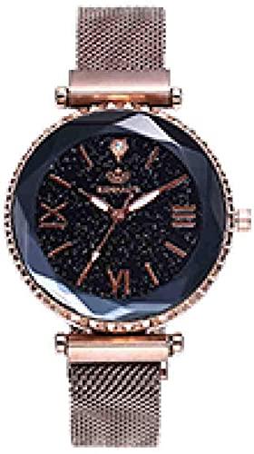 JZDH Mano Reloj Reloj de Pulsera Negro Reloj de Oro Mujer de Lujo de Moda de Lujo de Acero Inoxidable Reloj de Pulsera de Cuarzo Relojes Relojes Relojes Decorativos Casuales (Color : Gold)