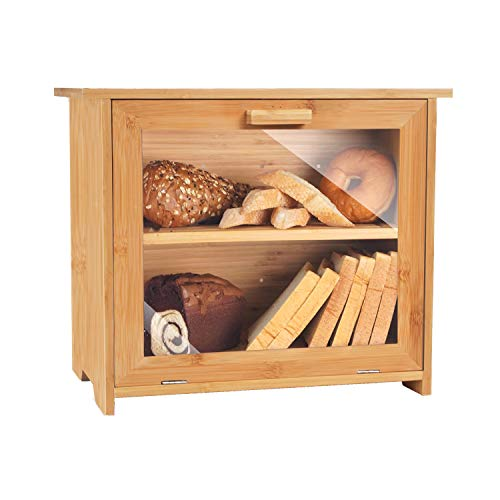 VEDECASA 3-in-1 Bamboo Bread Box for Kitchen Countertop, Wooden Farmhouse Style Bread Box with Cutting Board and Storage for Bread Knife. 2 Layer Large Capacity Bread Storage Bin with Clear Window
