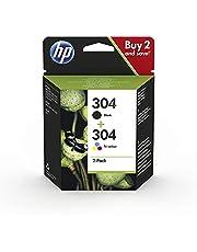 HP 304 3JB05AE - Pack de 2 Cartuchos de Tinta Originales Negro y Tricolor, compatible con impresoras de inyección de tinta HP DeskJet 2620, 2630, 3720, 3730, 3750, 3760, HP Envy 5010, 5020, 5030