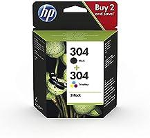 HP 304 3JB05AE - Pack de 2 Cartuchos de Tinta Originales Negro y Tricolor, compatible con impresoras de inyección de...