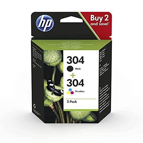 HP 304 3JB05AE - Pack de 2 Cartuchos de Tinta Originales Negro y Tricolor, compatible con impresoras de inyección de tinta HP DeskJet 2620, 2630, 3720, 3730, 3750, 3760, HP Envy 5010, 5020 y 5030