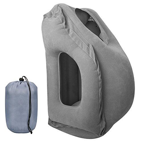 Aimego Reisekissen Nackenkissen Aufblasbares Faltbar und Tragbar mit Ganzkörper und Kopfstütze, zum Schlafen auf dem Flugzeug Zug Car Home Office Camping, Grau