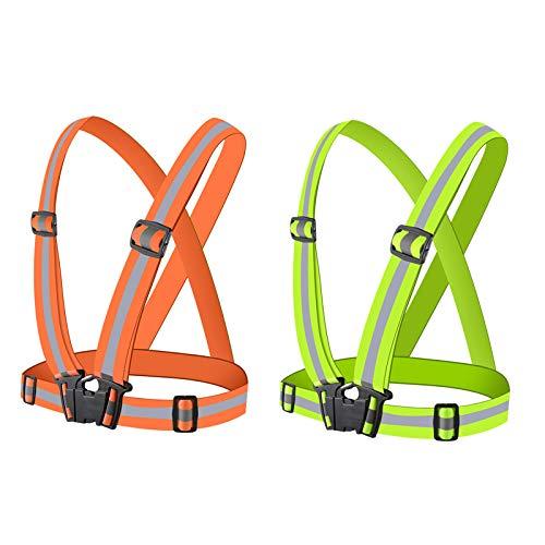 Brthspob Laufweste reflektierende, Fahrrad Sichtbarkeit reflektierende, Sicherheitsweste, Fahrrad Sichtbarkeit, fahrradweste reflektierend, Warnweste Arbeitsweste (grün and orange), (2er Pack)