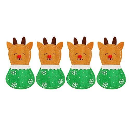 Holibanna 4 Pezzi di argenteria Natalizia Porta Renne Decorazione Festa di Natale
