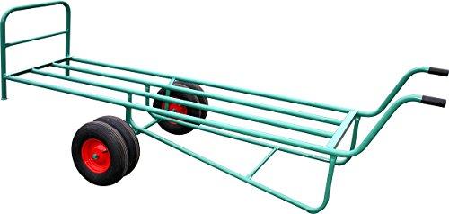 Schwarz Transportgeräte Handtransportgeräte, Dämmstoffkarre BKG, groß mit 4 Luftgummirädern 400 x 100 mm, ral 6000 patinagrün, 315 x 87 x 104.5 cm, 1024116