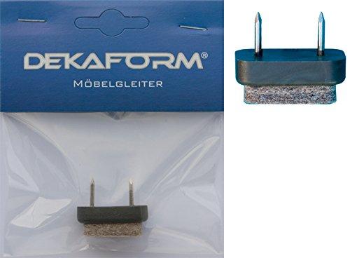 Dekaform Möbelgleiter 18 x 31 - Stuhlbeingleiter / Nagelgleiter M-210 aus Kunststoff mit Filz * Bodenschoner Farbe grau