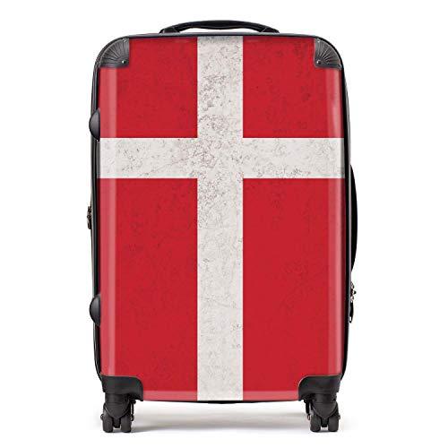 Denemarken/Deense vlag koffer met TSA slot 4 spinner wielen bagage 68cm 80Ltr / Noord-Europese vlaggen