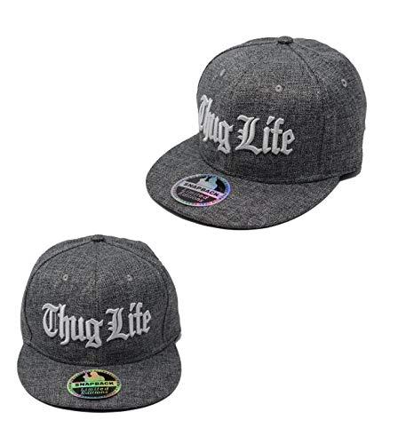 Hi Fashionz Unisex Thug Life Snapback Cap Baseball Cap Hip Hop Era Fitted Flat Peak Cotton Hat Gr. Einheitsgröße, Bestickte Kappe von Thug Life.
