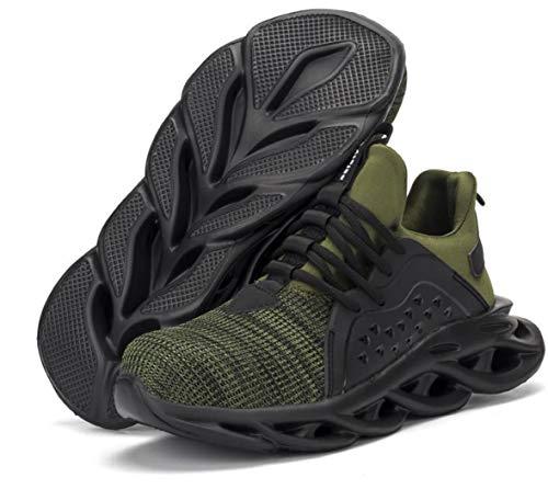 ZYLL Zapatos indestructibles Calzado Hombre de Trabajo de Seguridad con Puntera de Acero del Casquillo a Prueba de pinchazos Botas tamaño Fresco Zapatillas de Deporte,D,42