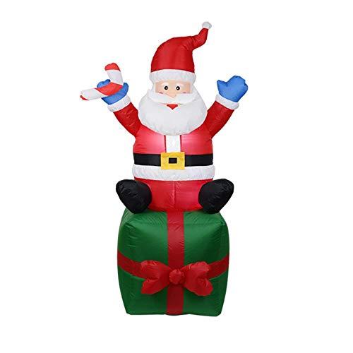 Iwähle Aufblasbarer Weihnachtsmann 180cm LED Beleuchtet, Aufblasbare Weihnachts-Geschenk-Box IP44 Weihnachtsdeko Santa draußen Deko Figur Selbstaufblasbar für Innen Außen