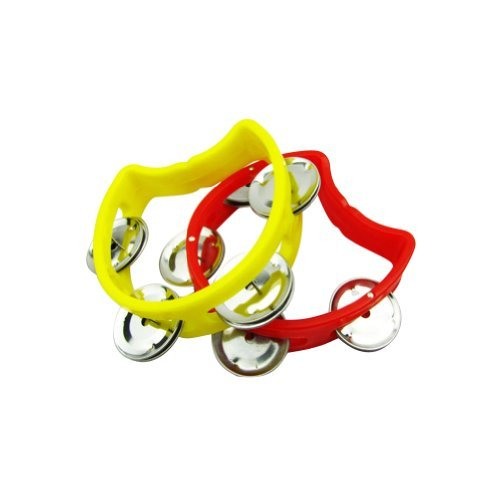 Musiclily Plastic 6 Inch Handheld Half Moon Tambourines Percussion Jingles Musical Instrument, Red/Yellow(Pack of 2)