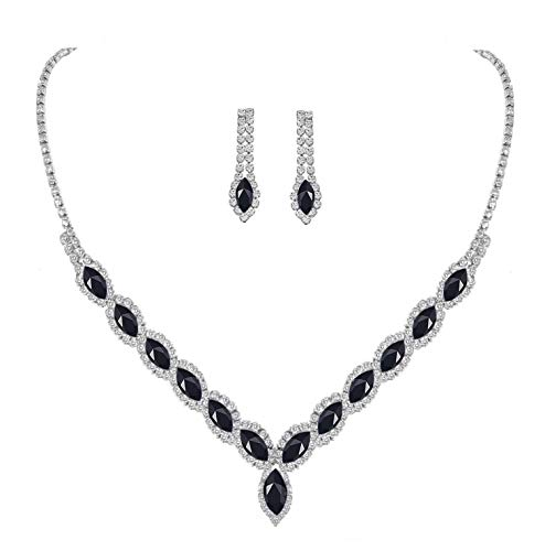 YSOUL CZ Rhinestone Necklace Earrings Jewelry Set For Costume Halloween Decorations Party Accessory (Black)