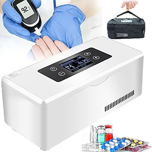 GGMWDSN Nevera Portatil Insulina, Que Mantiene 2-25 ℃ Durante 8 Horas, el Refrigerador para AutomóVil Mini Cooler Insulin Mantiene la MedicacióN Fresca y Aislada,2battery