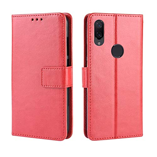 JIAHENG Phone Case Retro Crazy Horse Texture Horizontal Flip Leather Case for Xiaomi Redmi 7, with Holder & Card Slots & Photo Frame (Black) PU Leather Cover Shell (Color : Red)