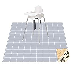Minimal grey grid high chair splat mat
