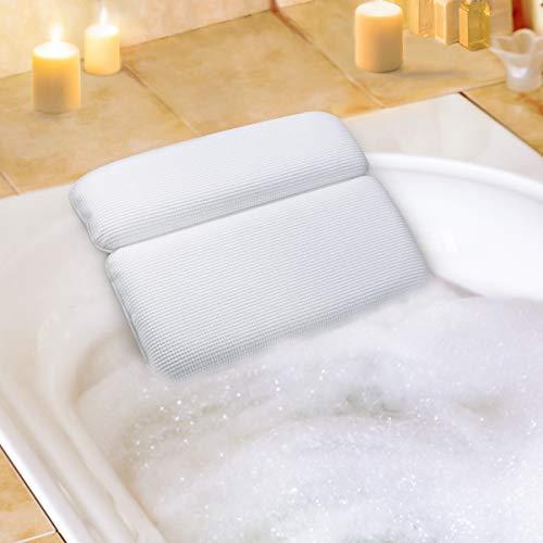 Aimego Badewannenkissen Bad Kissen Spa Kissen Wasserdichtes mit 7 Saugnäpfe rutschfest Unterstützung für Kopf Hals und Rücken Weiß