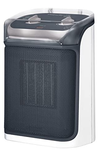Rowenta SO9281 Mini Excel Aqua Keramik Heizlüfter   ideal für das Badezimmer   Spritzwassergeschützt   leistungsstark   kompakt   sehr leise mit nur 50 dB(A)   Tragegriff   Grau/Weiß