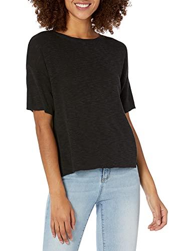 Amazon Brand - Daily Ritual Women's Lightweight Short-Sleeve Open-Crewneck Pullover Sweater, Black,Large