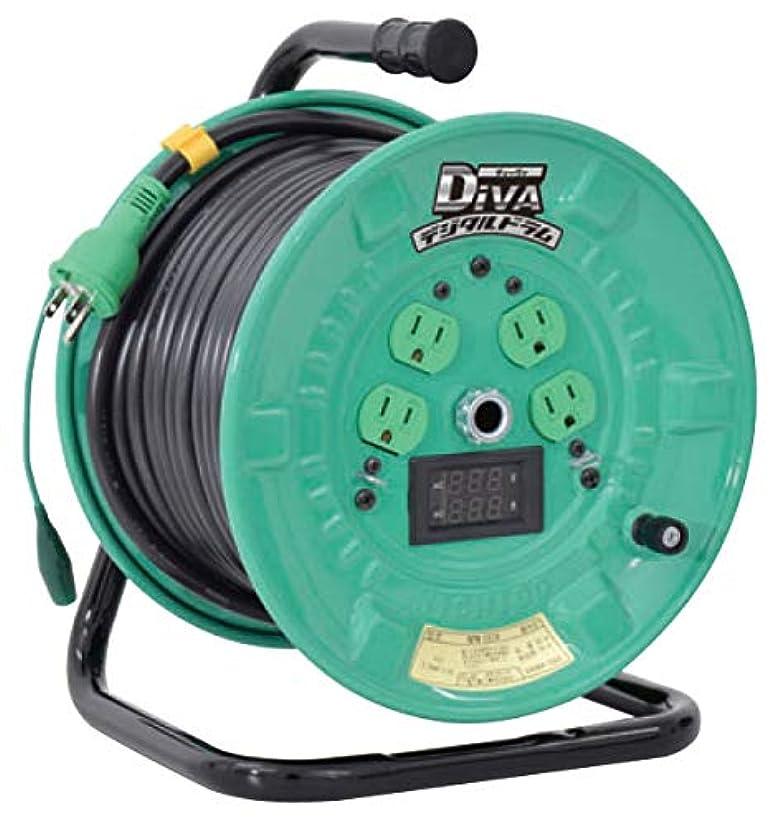 なかなか東部大惨事日動 ディーバ デジタルドラム 屋内型 電工ドラム 漏電保護専用 100V専用 電線長30m 取寄品 NPDM-EB34