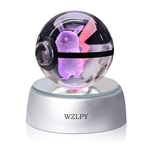 3D Crystal Ball LED Night Lights Lámpara de Regalo Para Niños 50mm Ball Base de Decoloración Automática (pikaqiu)