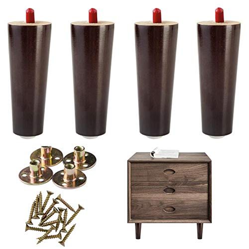 Wood Furniture Legs Replacement Legs 6 inch High for Bed, Sofa, Couch, Chair Ottoman, Love seat, Coffee, Table,Settee,Cabinets(Set of 4)
