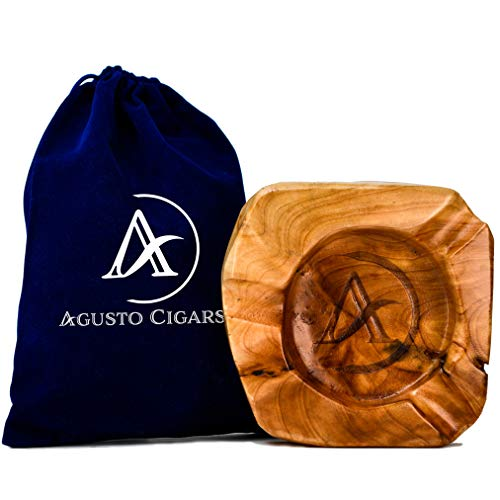 AGUSTO Cigar Ashtrays-Wood ashtray for cigars outdoor w/ 3 slot cigar holder-Large cigar ashtray outdoor/patio/indoor/office use/home decor-Ash tray cigar rest/stand-Cigar Accessories Gift Set for Men