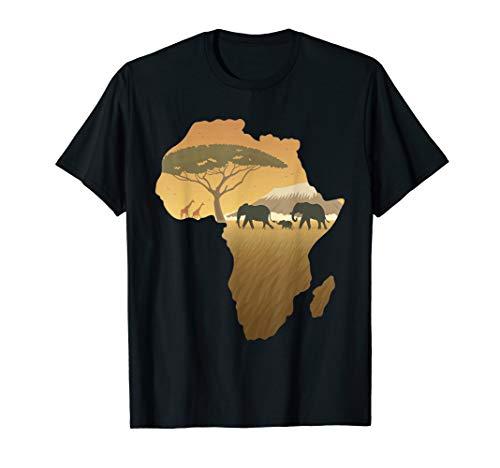 Afrika T-Shirt Elefant Karte Dad South Animal Big Five Safari