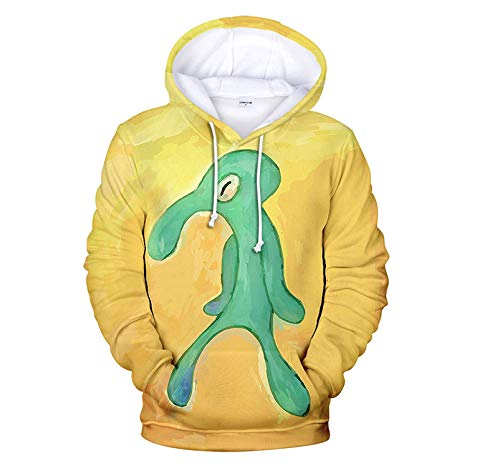 CARRYFUTURE Athletic Hoodies for Men, Yellow Squidward 3D Graphic Polyester Sweatshirt- XL