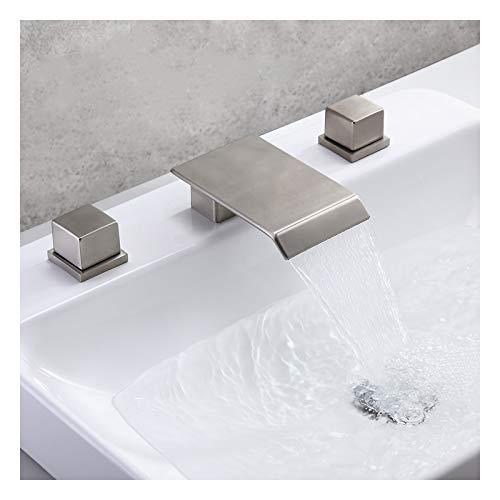 Shower Set Waschtischarmatur Wasserfall Dreiloch-Doppelgriff Waschtisch Mischbatterie Messing Badarmatur Wasserhahn mit Warmes und Kaltes Wasser für Badzimmer,Brushed Nickel
