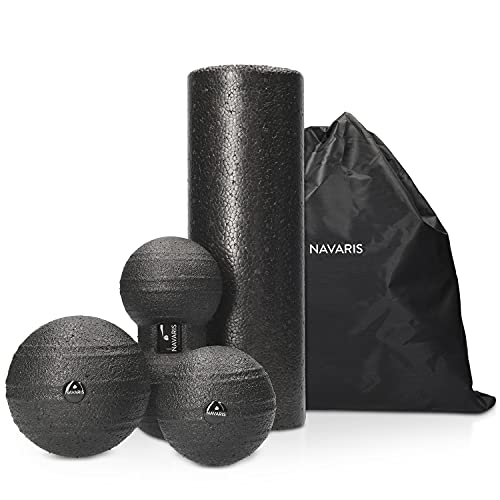 Navaris Faszien Set 4tlg. Massageroller - 1x Faszienrolle 1x Peanut Duo Massageball 2X Faszienball - Massage Bälle Duoball - Rücken Nacken Yoga