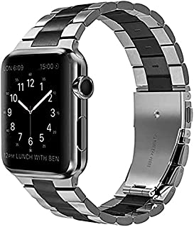 Stainless steel watch band for apple watch 42/44mm silver&black