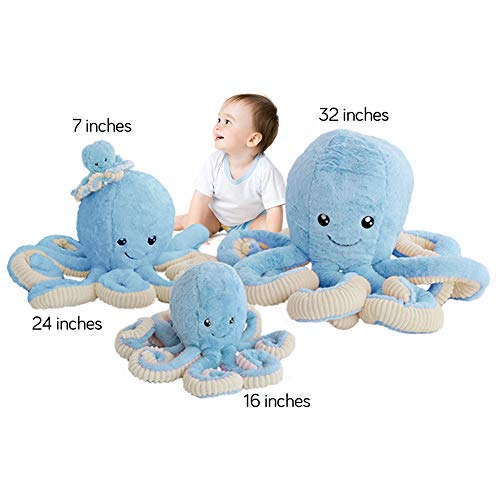 DENTRUN Octopus Stuffed Animals, Octopus Plush Doll Play Toys for Kids Girls Boys Adults Birthday Xmas Gift Present 7/16/24/32 Inches, 5 Colors (7 inches, Blue)