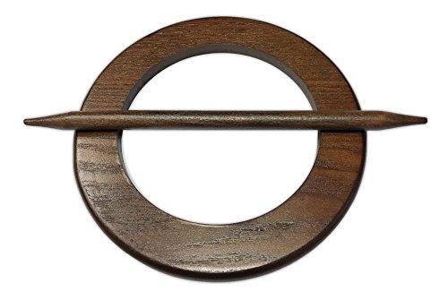 Tilldekor Raffspange KREIS, Holz, nussbaum-dunkel, Gardinenspange mit Befestigungsstab