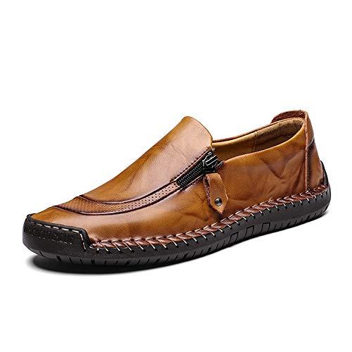 LIEBE721 Zapatos de Cuero para Hombre Cremallera Lateral Antideslizante Zapatillas de Deporte de Moda en Estilo Mocasines Respirables duraderos
