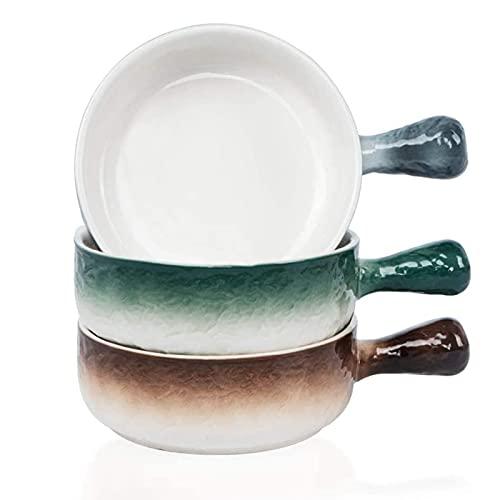 JNN 21 onzas de Porcelana de Cebolla Francesa Cuencos con Mango, Color de Onda de tazón de Sopa de Paja para Ramen, Ensalada, Pasta, Cereal, Avena - Microondas lavavajillas Seguro, Conjunto de 3