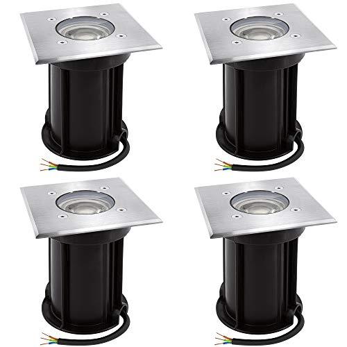 4 Stück linovum BOQU Boden Einbaustrahler aussen IP67 LED GU10 3W neutralweiß 230V - Bodenleuchte eckig befahrbar bis 500Kg